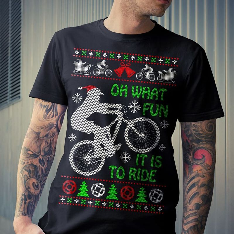 Oh What It Is To Ride Biker Pinetree Christmas   T-shirt Black B7