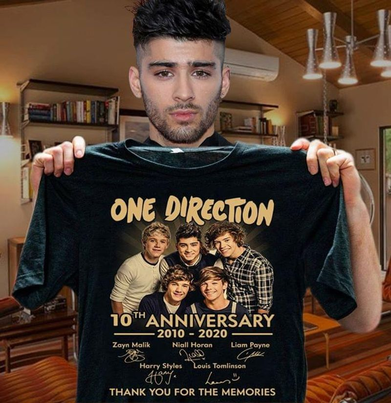 One Direction 10th Anniversary 2010-2020 Thank You For The Memories Signature Black T Shirt Men/ Woman S-6XL Cotton