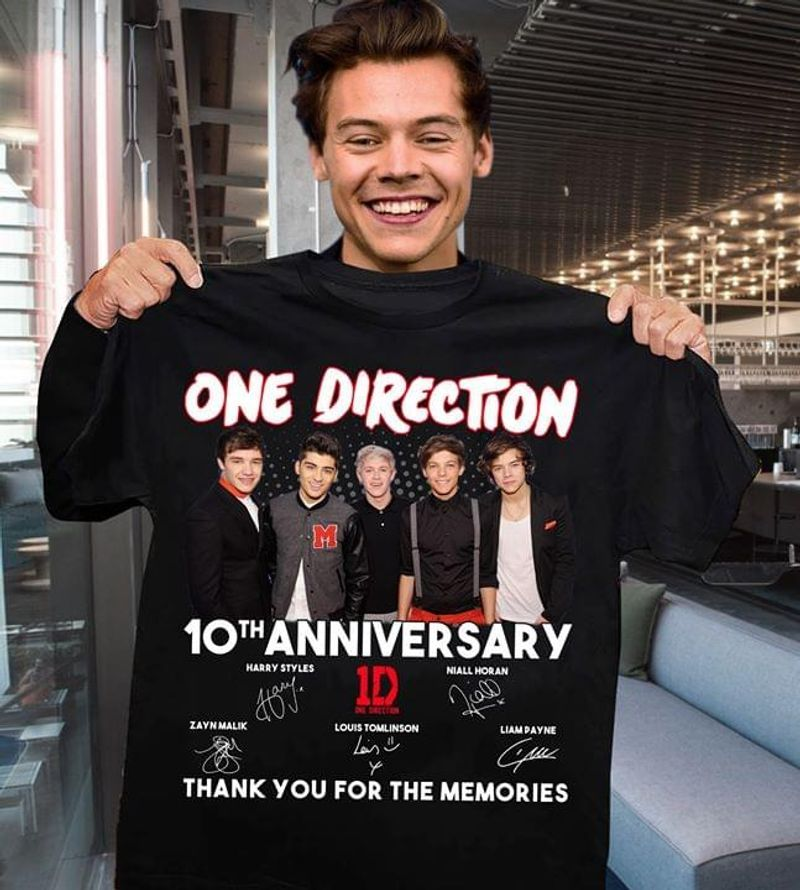 One Direction 10th Anniversary Thank You For The Memories Signatures Gift For Fans T Shirt S-6XL Mens And Women Clothinga