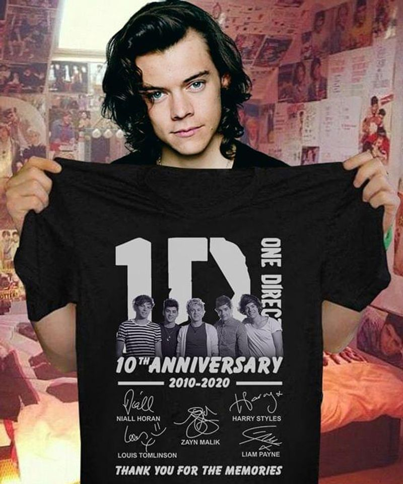 One Direction Fans 10th Anniversary 2010 2020 Signature Fan Gift Black T Shirt Men And Women S-6XL Cotton
