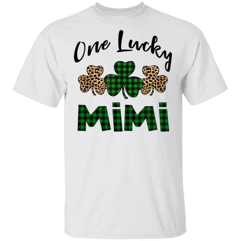 One Lucky Mimi Leopard Plaid Shamrock T Shirt White