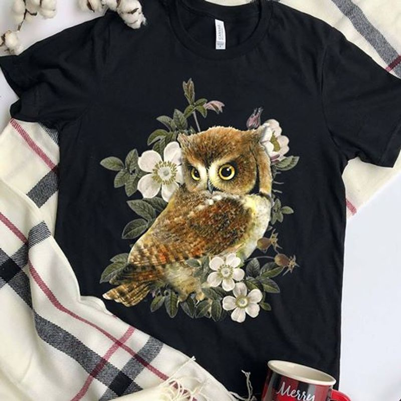 Owl And Flower T-shirt Black A8