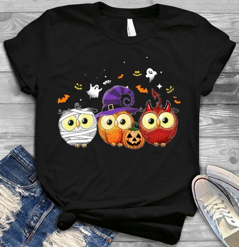 Owl  In Halloween Costume T Shirt Halloween Gift For Owl Lovers Black T Shirt Men And Women S-6XL Cotton