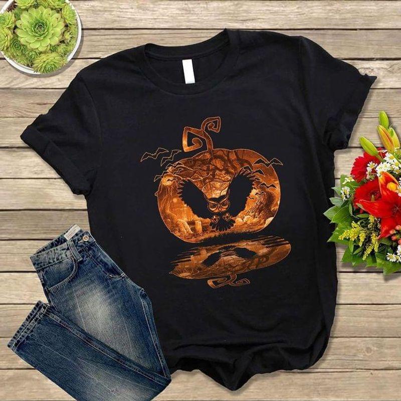 Owl Pumpkin Water Reflection T Shirt Halloween Gift Idea Black T Shirt Men And Women S-6XL Cotton