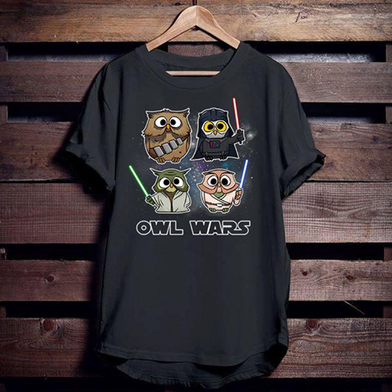 Owl Wars T-shirt Black A8