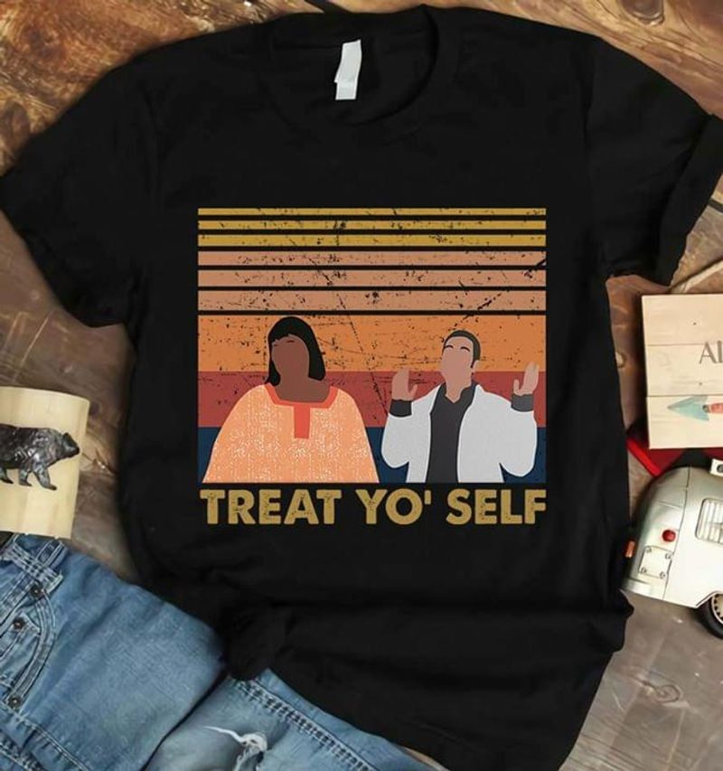 Parks And Recreation Treat Yo' Self Master Of None Save Jjs Black T Shirt Men And Women S-6XL Cotton