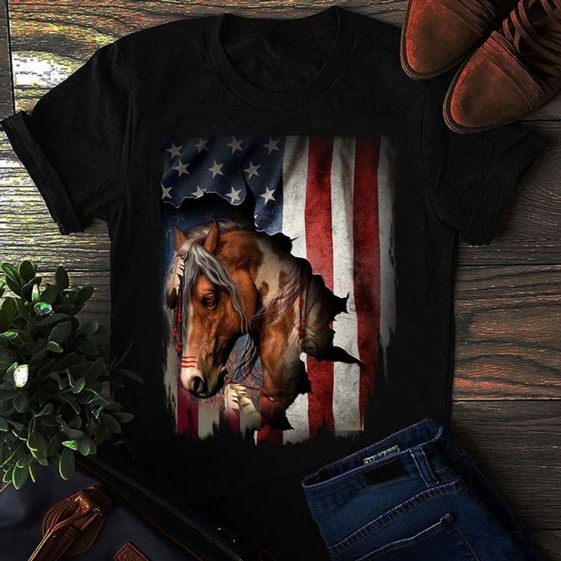 Patriotic Horse American Flag 4Th Of July Independence Day Animals Gift For Horse Lover Black Shirt