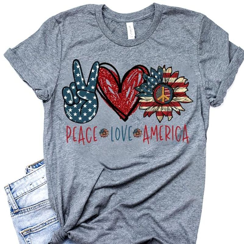 Peace Love America American Flag Sunflower Hippie Vintage July 4th Independence Day Grey T Shirt Men/ Woman S-6XL Cotton