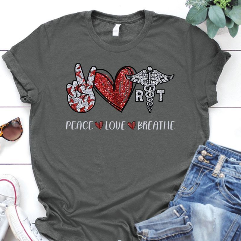 Peace Love Breathe Respiratory Therapist T Shirt Grey