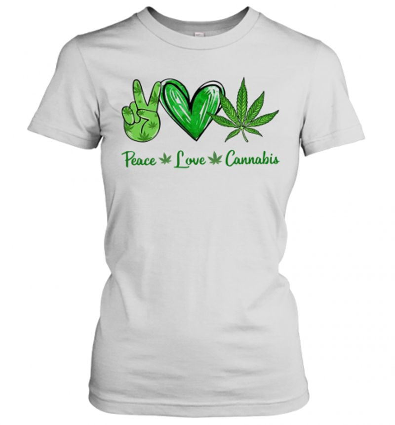 Peace Love Cannbis T Shirt White