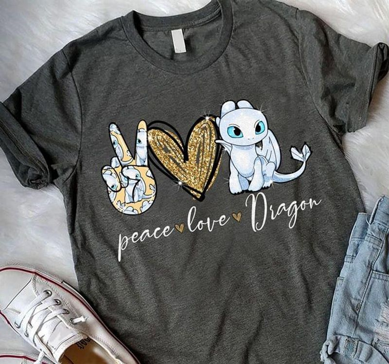 Peace Love Dragon Tee Cute White Dragon Art Printed Dragon Lover Gift Dark Heather T Shirt Men And Women S-6XL Cotton