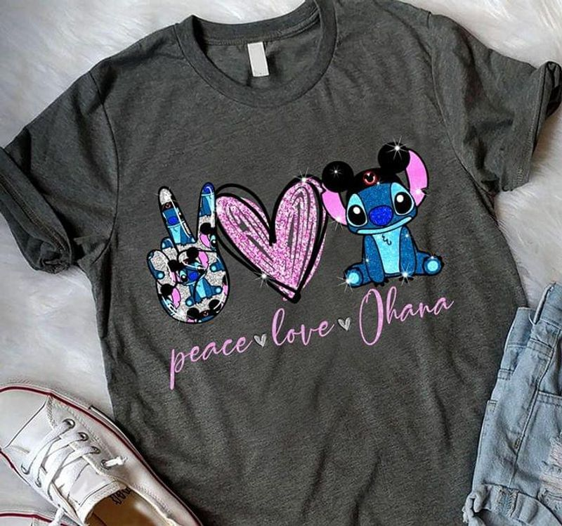 Peace Love Ohana Grey T Shirt Men/ Woman S-6XL Cotton