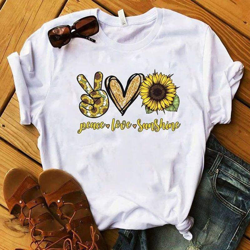 Peace Love Sunshine V Finger Sign Heart And Sunflower White T Shirt Men And Women S-6XL Cotton
