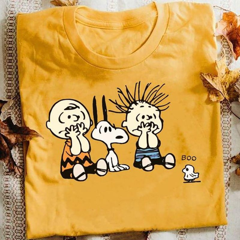 Peanuts Snoopy And Charlie Brown Boo Ghost T-shirt Funny Halloween Gift Gold T Shirt Men And Women S-6XL Cotton