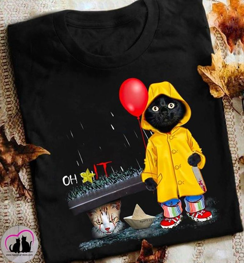 Pennywise Fans Movie Horror Black Cat Oh Shit Cat Happy Halloween Black T Shirt Men And Women S-6XL Cotton