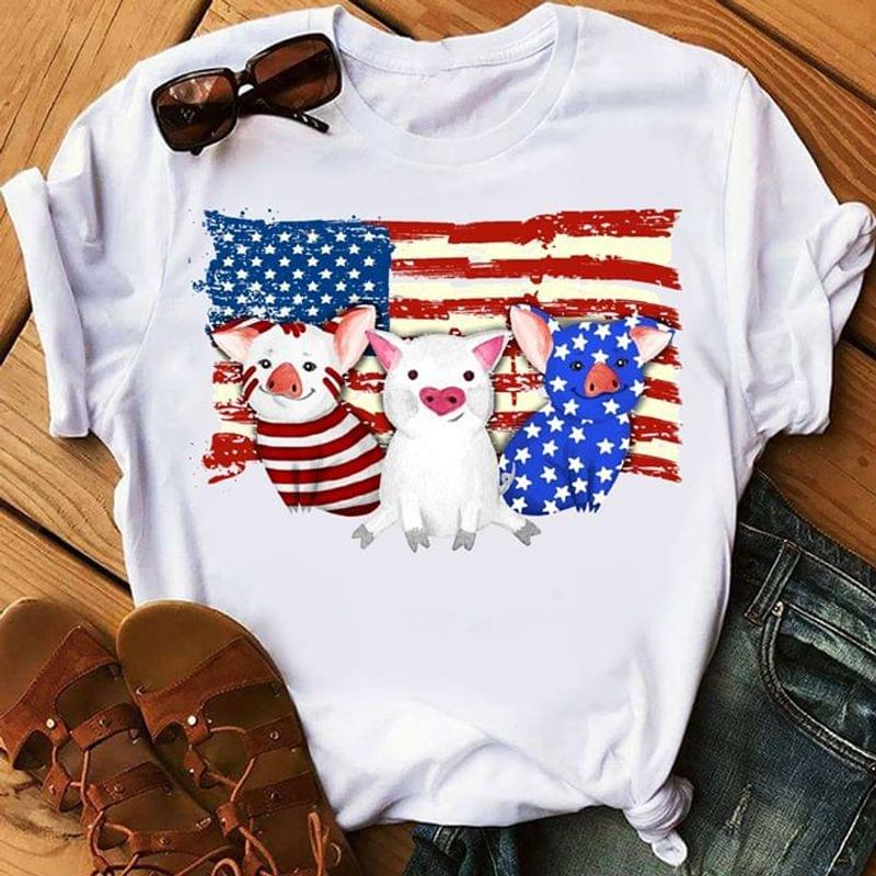 Pig US Flag Independence Day 4th Of July Black T Shirt Men/ Woman S-6XL Cotton