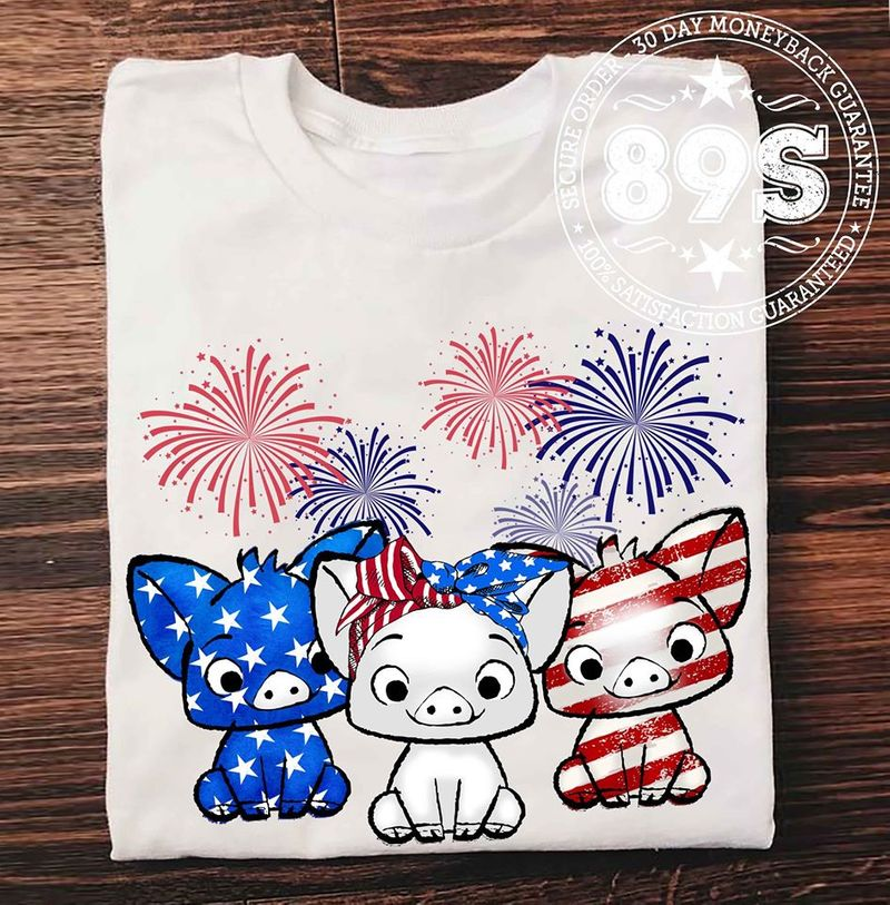 Pigs American Flag Pattern Firework July Of 4th T Shirt White