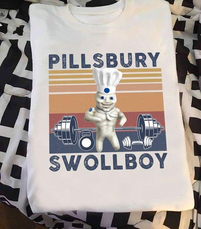 Pillsbury Swollboy Bodybuilding Chef Vintage Retro White T Shirt Men And Women S-6XL Cotton