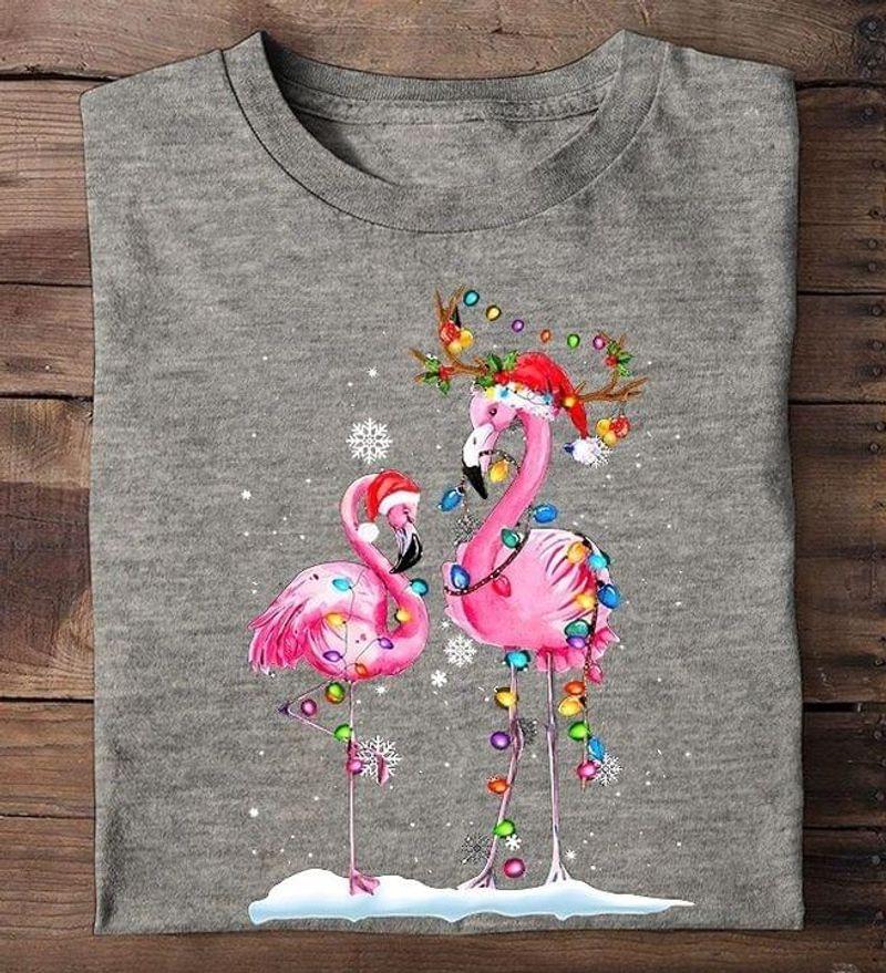 Pink Flamingo Christmas Lights Santa Hat Cute Funny Gift Party Light Merry Xmas Sport Grey T Shirt Men And Women S-6XL Cotton