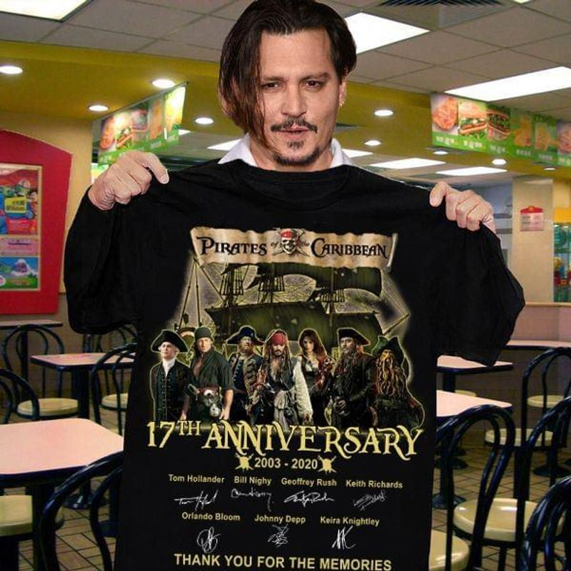Pirates Of The Caribbean Film Fans 17th Anniversary Thank You For The Memories Signature Black T Shirt Men And Women S-6XL Cotton