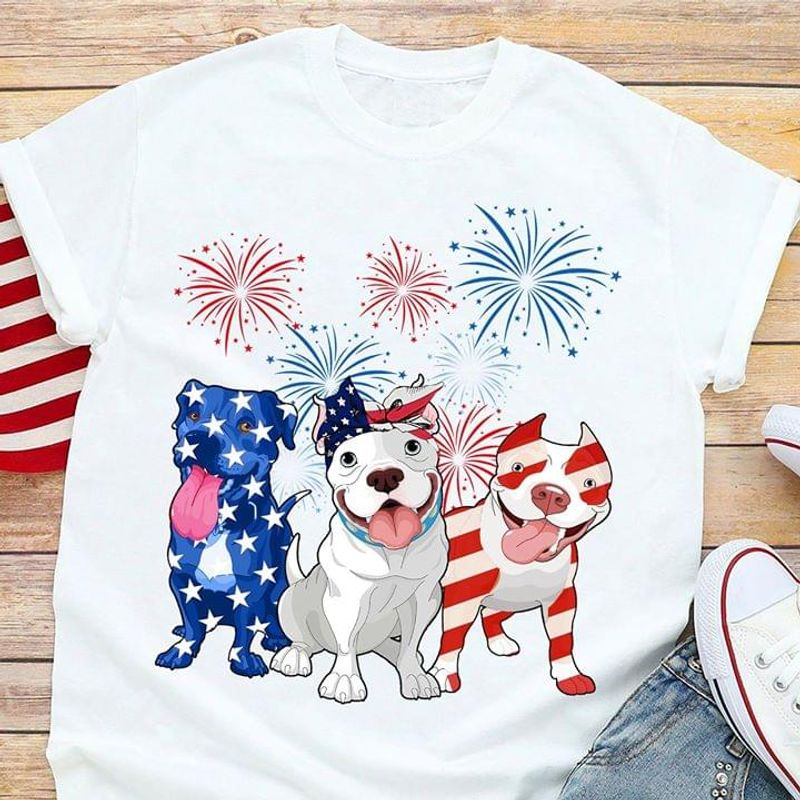 Pit Bull US Flag Independence Day 4th Of July White T Shirt Men/ Woman S-6XL Cotton