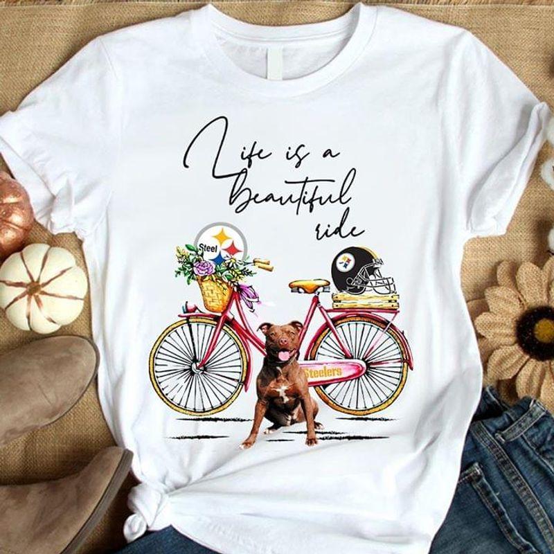 Pitbull Life Is A Beautiful Ride Flower White T Shirt Men/ Woman S-6XL Cotton