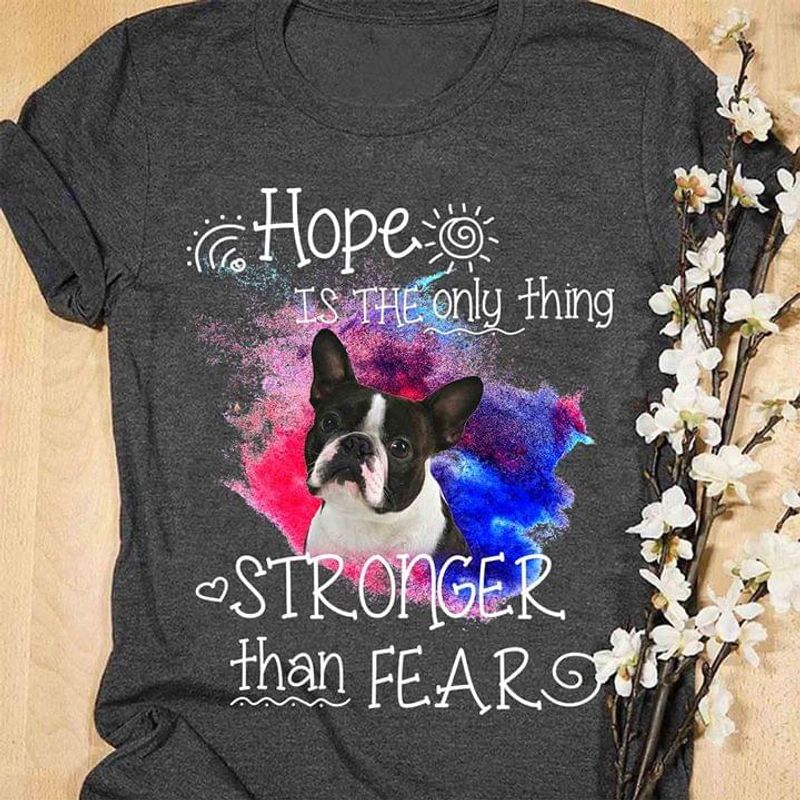 Pitbull Lovers Hope Is The Only Thing Stronger Than Fear Heather T Shirt Men/ Woman S-6XL Cotton