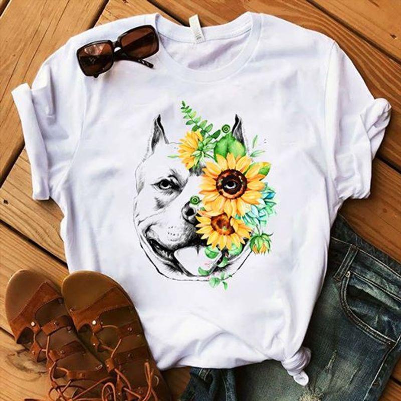 Pitbull Sunflower Tshirt White A2