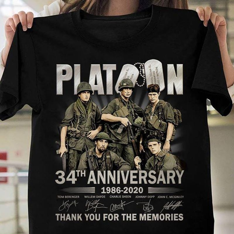 Platoon Shirt 34th Anniversary 1986 - 2020 Signature Black T Shirt Men And Women S-6XL Cotton