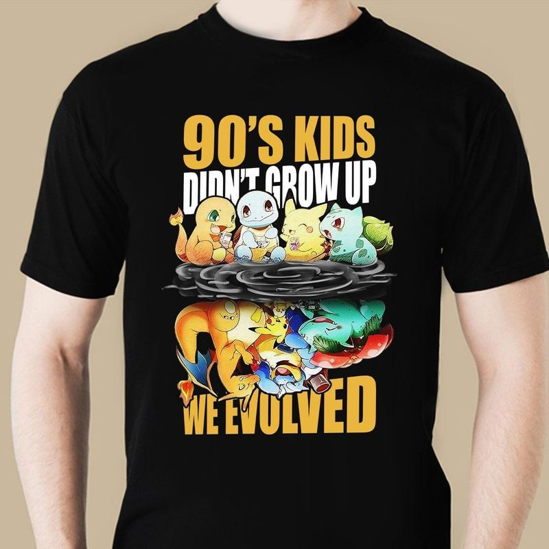 Pokemon Reflection Pikachu 90's Kids Don't Grow Up We Evolved T-shirt Pokemon Fans Gift Black T Shirt Men And Women S-6XL Cotton
