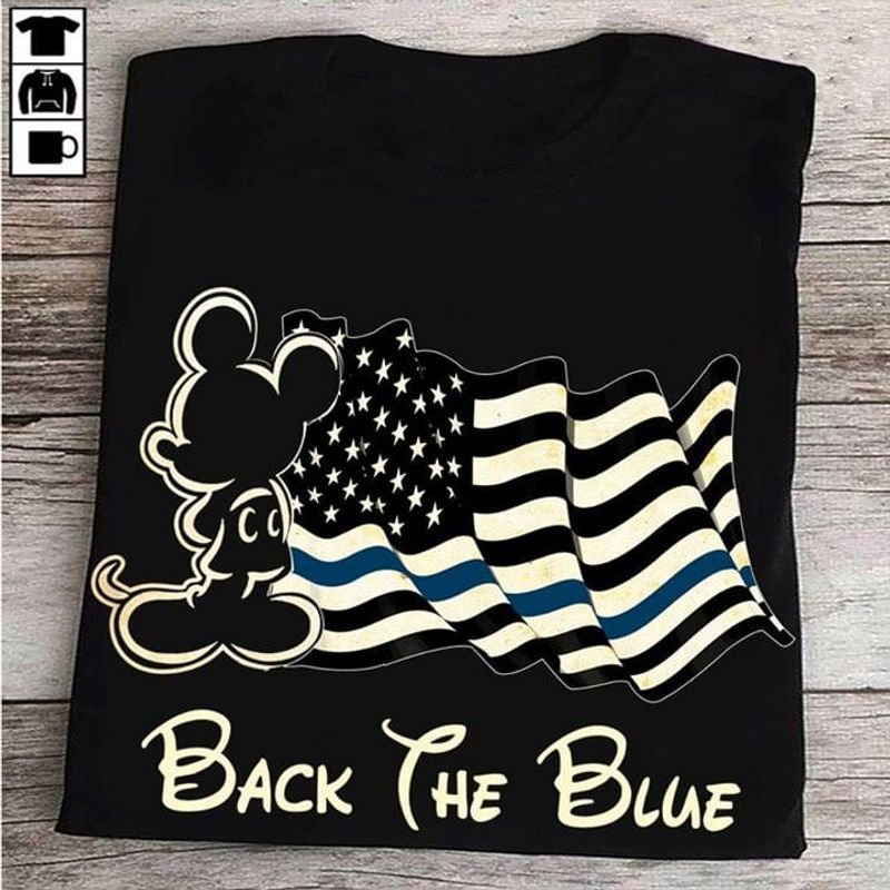 Police Officer Back The Blue Mickey Mouse Us Flag Blue Lives Matter BlackT Shirt Men/ Woman S-6XL Cotton