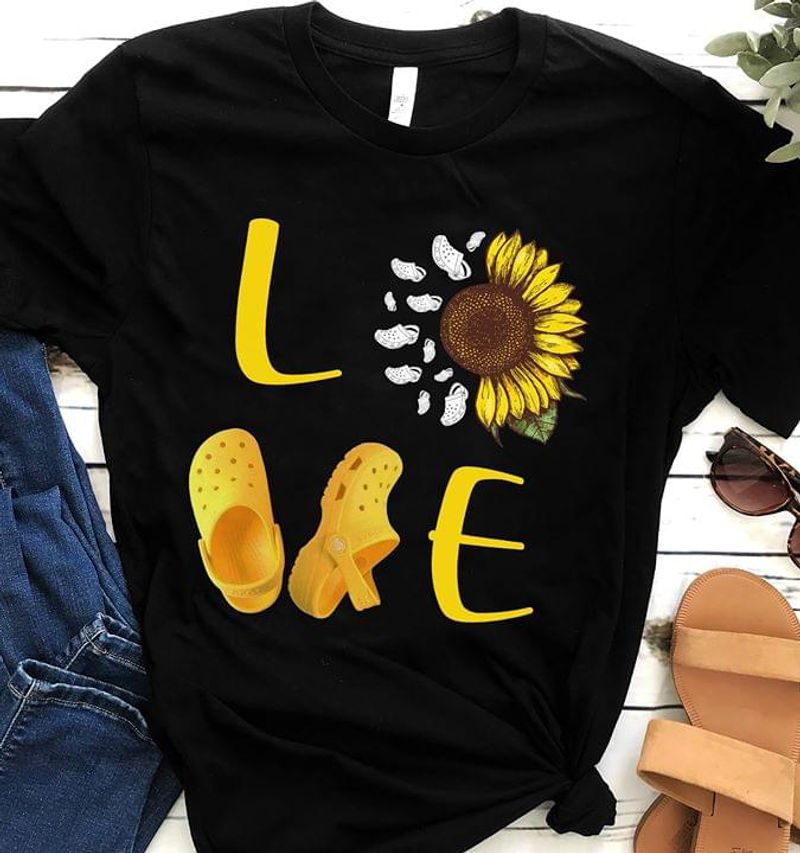 Pretty Sunflower Love Croc Birthday Gift For Sunflower Lover T Shirt Men/ Woman S-6XL Cotton