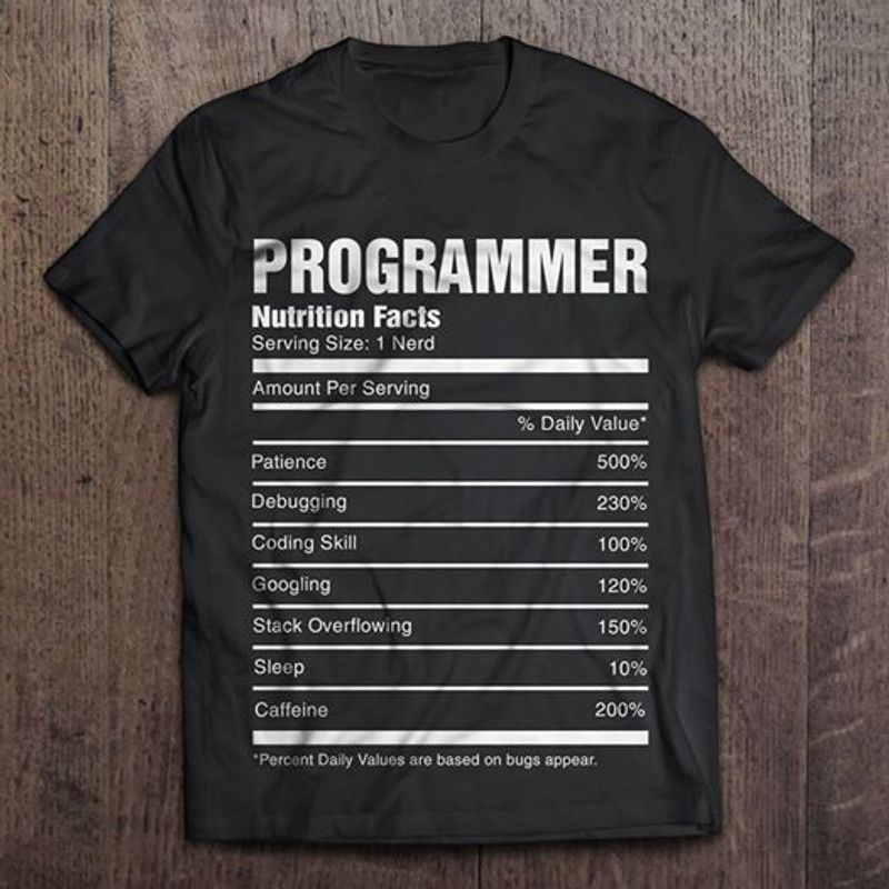 Programmer Nutritione Facts Serving Size 1 Nerd From 500 Patience To 200 Caffeine Percent Daily T-shirt Black B7