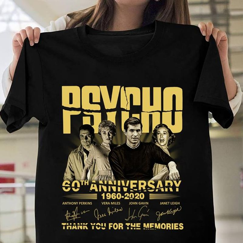 Psycho Fans 60th Anniversary Thank You For The Memories Signature Black T Shirt Men And Women S-6xl Cotton