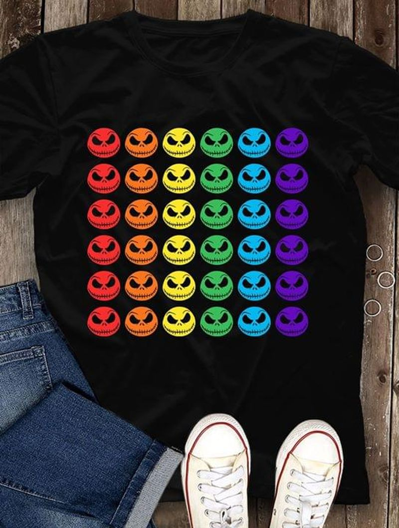 Rainbow Color Skullcaps Lgbt Pride Gift For Those In Lgbt Community Black T Shirt Men/ Woman S-6XL Cotton