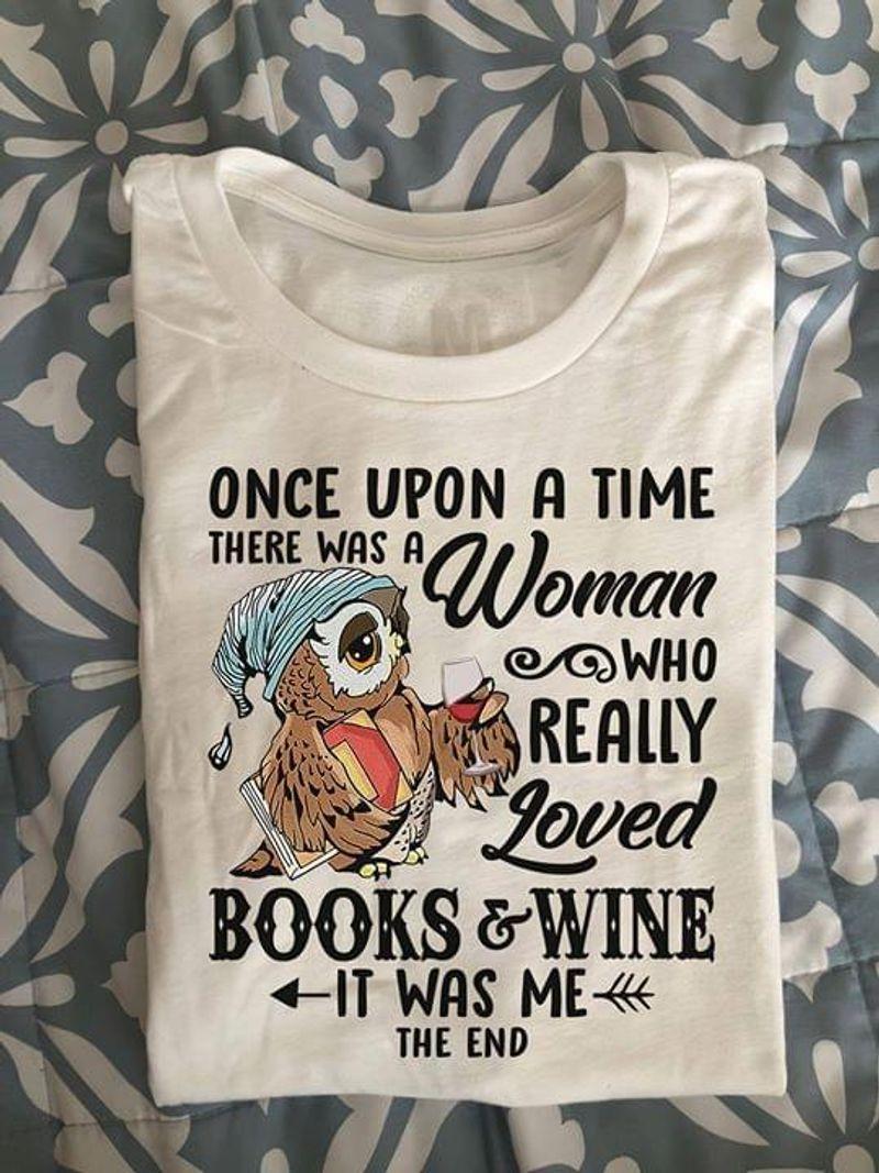 Reading Lovers Shirt Owl Woman Loved Books & Wine T Shirt White White T Shirt Men And Women S-6XL Cotton