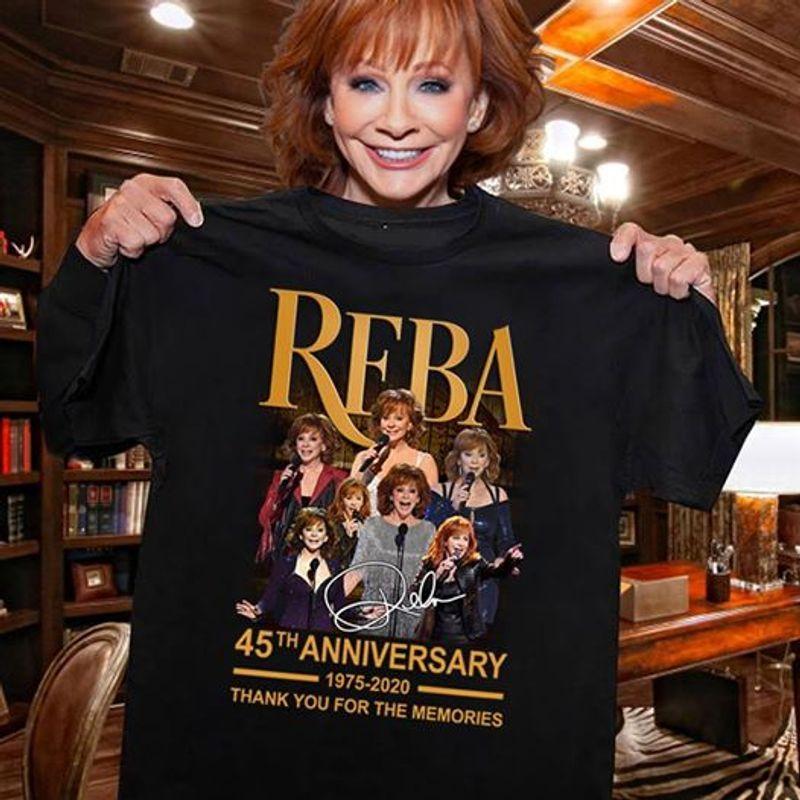 Reba 45th Anniversary 1975 2020 Thank You For The Memories T-shirt Black B1