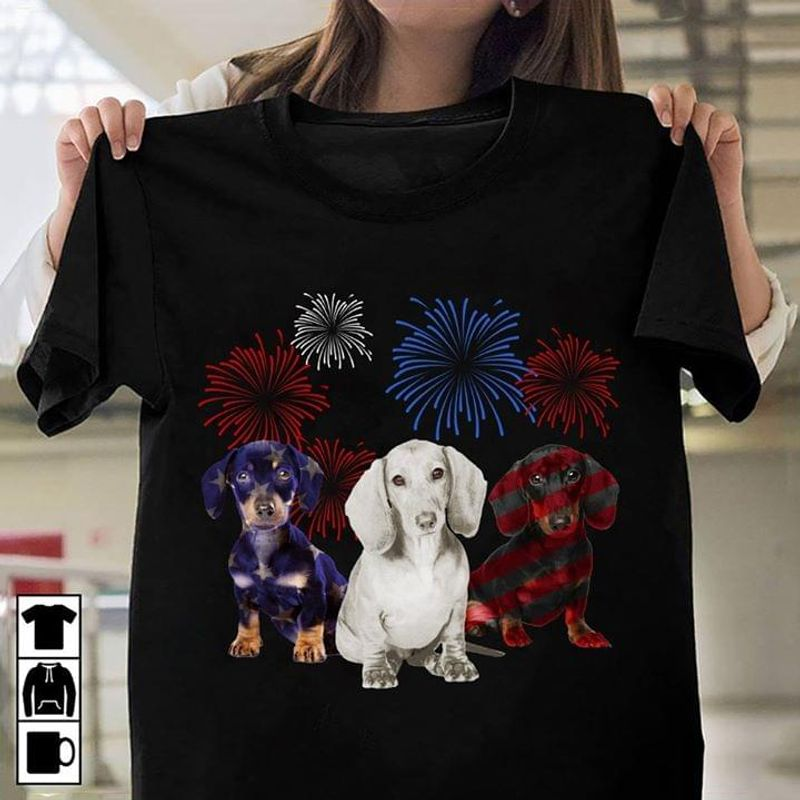 Red Blue White Firework Dachshund American Flag 4Th Of July Independence Day  T Shirt Men/ Woman S-6XL Cotton