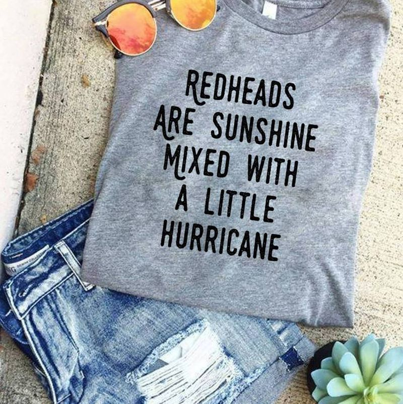 Redheads Are Sunshine Mixed With A Little Hurricane Tshirt Gray A2