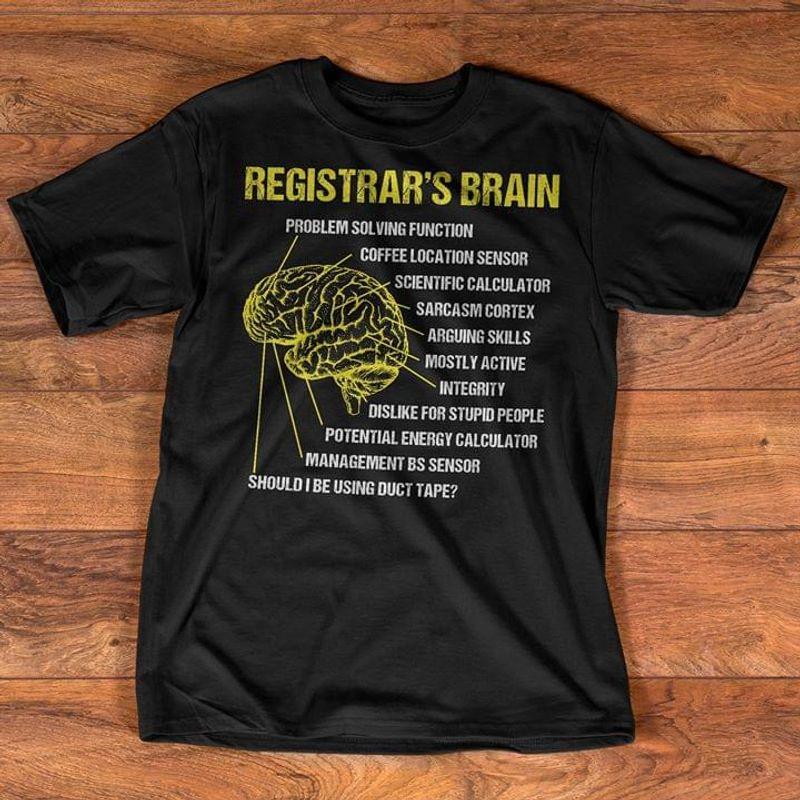 Registrar's Brain Vintage Human Anatomy Brain Black T Shirt Men And Women S-6xl Cotton