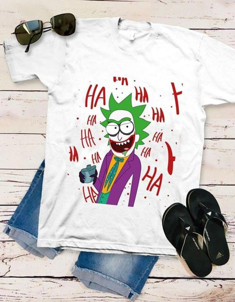 Rick & Morty Rick Joker Combination Funny Halloween Gift White White T Shirt Men And Women S-6XL Cotton