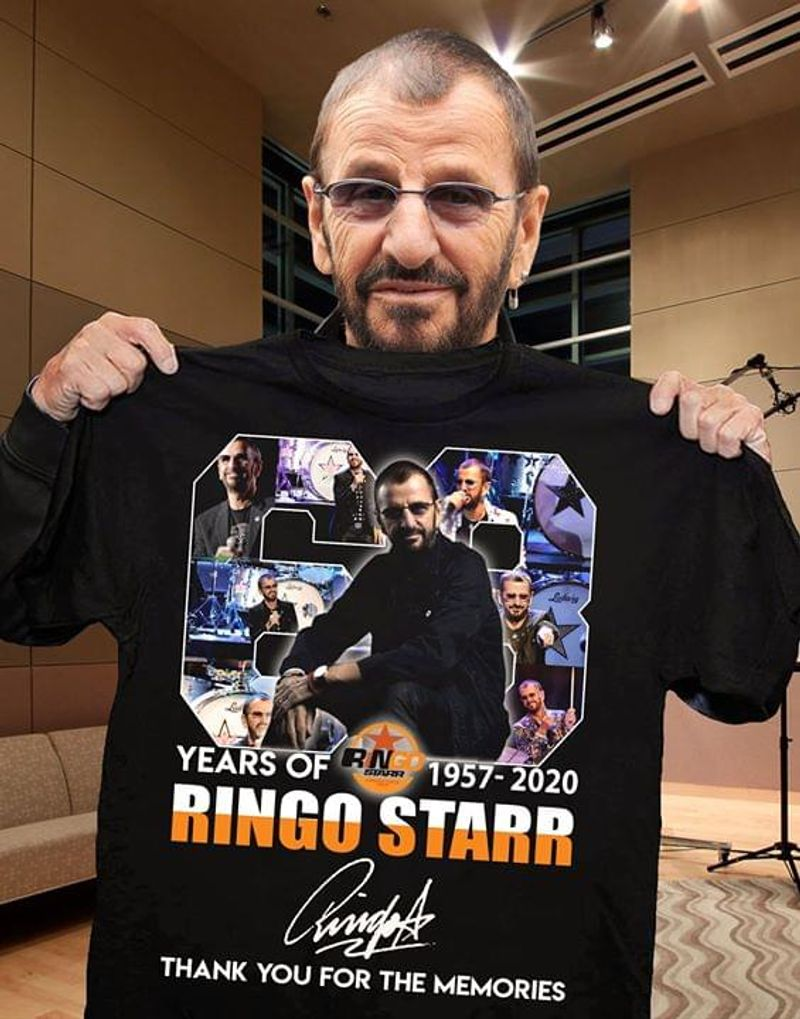 Ringo Starr 69 Years Of 1957-2020 Thank You For The Memories Signature Black T Shirt Men/ Woman S-6XL Cotton