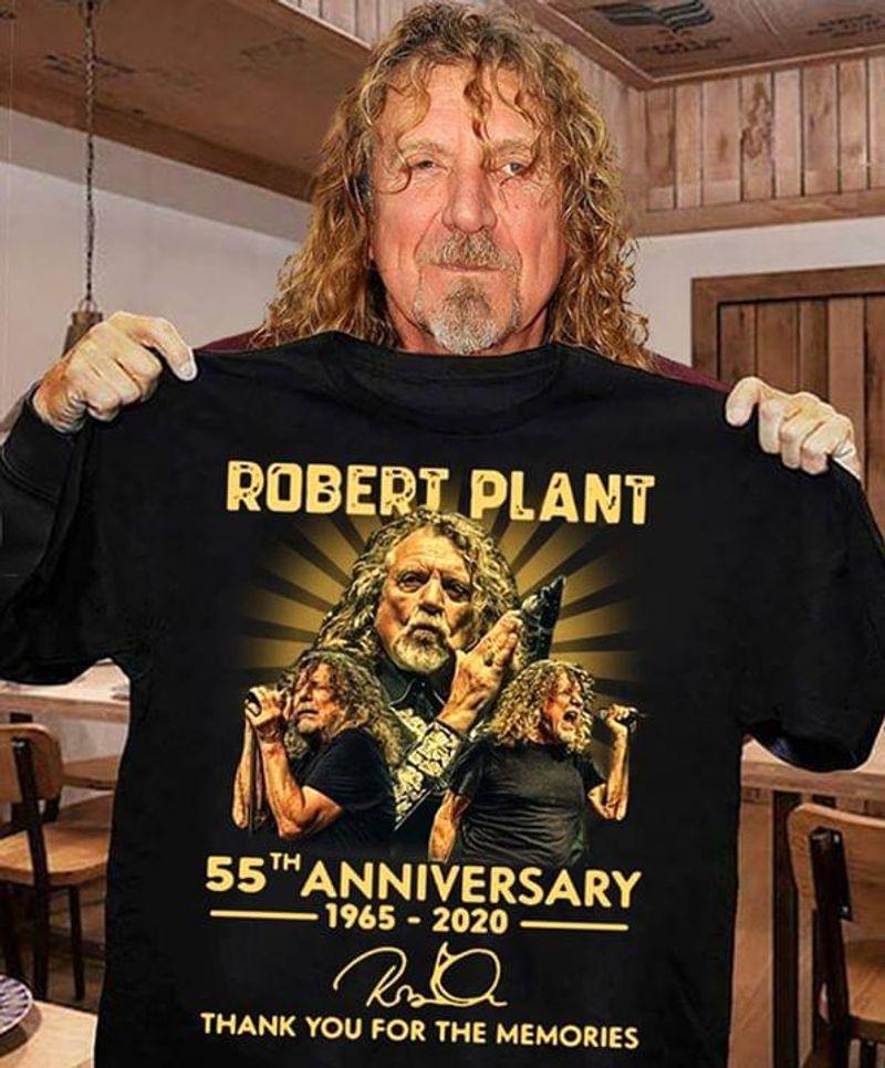 Robert Plant Fans 55th Anniversary Thank You For The Memories Signature Black T Shirt Men/ Woman S-6XL Cotton
