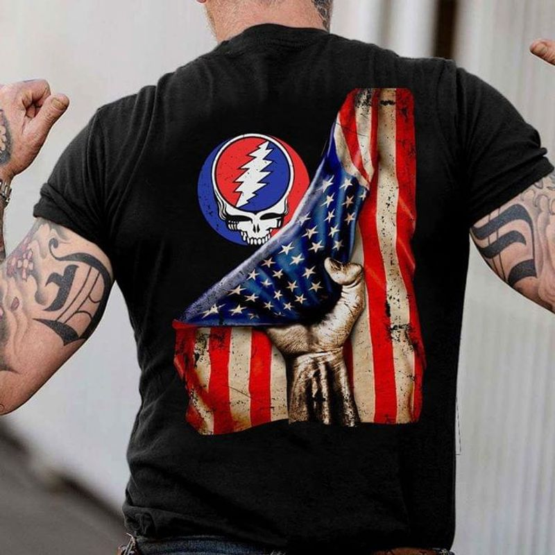 Rock Lovers Grateful Dead Hand Pulling American Flag Independence Day 4th Of July Black Shirt_Back_Side