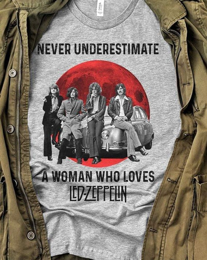 Rock Lovers Never Underestimate A Woman Who Loves Lad Zeppelin Sport Grey T Shirt Men And Women S-6xl Cotton