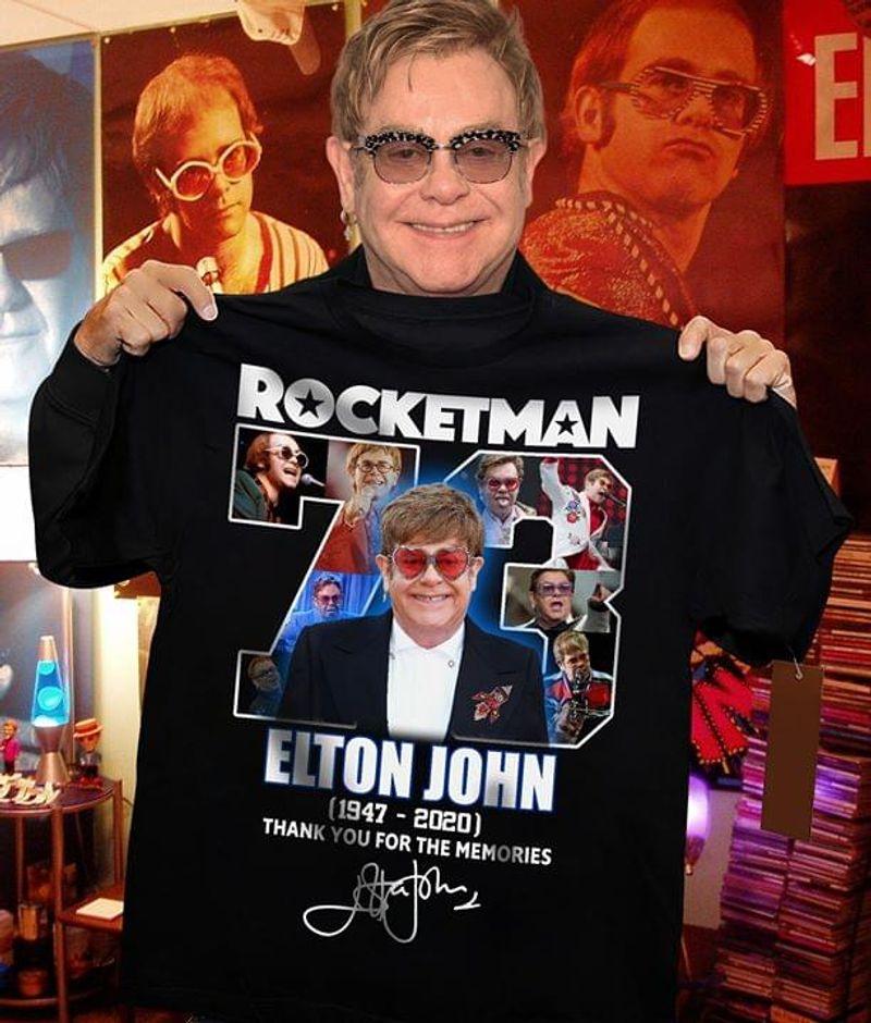 Rocket Man Elton John 1947 2020 Thank You For The Memories Signature Male Wear Glasses Black T Shirt Men And Women S-6XL Cotton