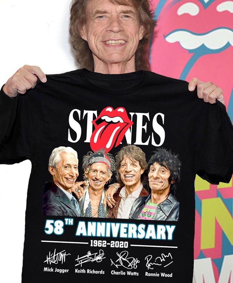 Rolling Stones 58th Anniversary 1962 2020 T Shirt Black