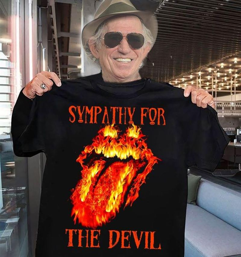 Rolling Stones Flaming Tongue Sympathy For The Devil Gift For Rock Fans Black T Shirt Men And Women S-6XL Cotton