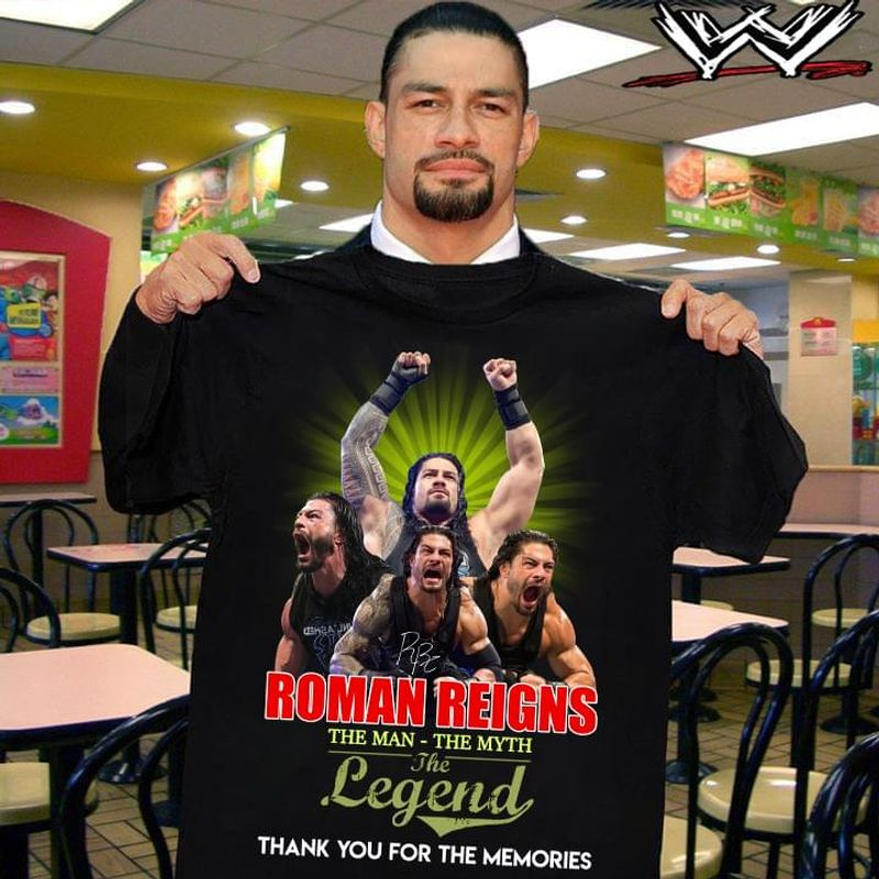 Romans Reigns Fans The Man The Myth The Legend Thank You For The Memories Black T Shirt Men And Women S-6XL Cotton