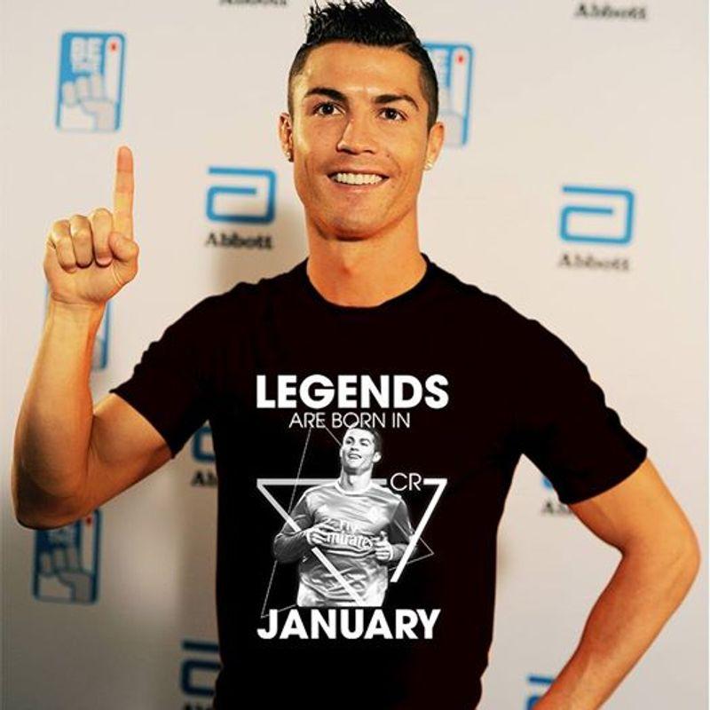 Ronaldo Legends Are Born In January T-shirt Black A5